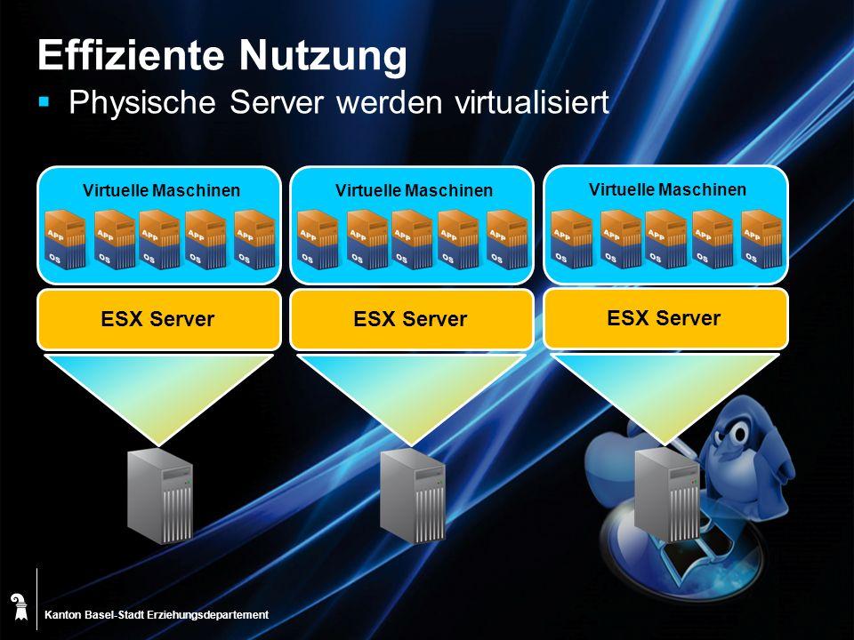 Kanton Basel-Stadt Effiziente Nutzung Physische Server werden virtualisiert Virtuelle Maschinen ESX Server Virtuelle Maschinen ESX Server Virtuelle Ma