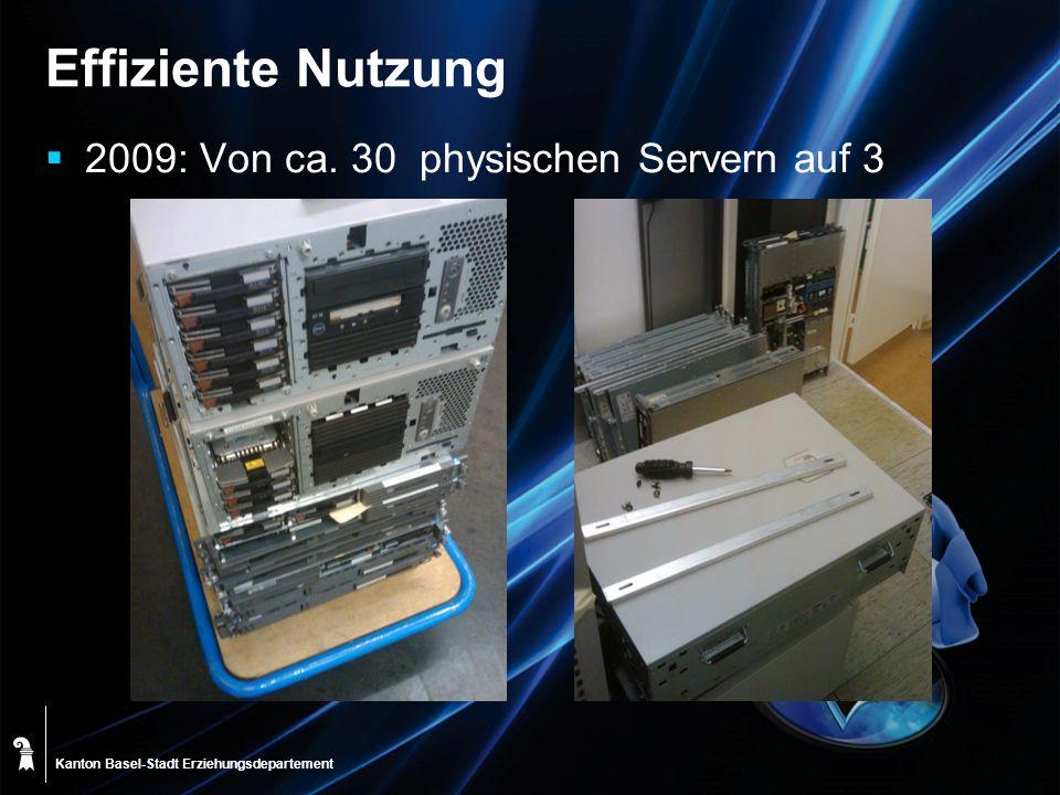 Kanton Basel-Stadt Effiziente Nutzung 2009: Von ca. 30 physischen Servern auf 3 Erziehungsdepartement