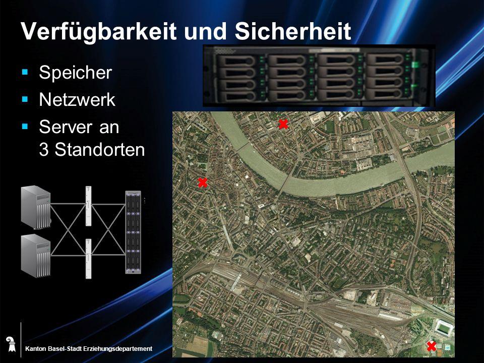 Kanton Basel-Stadt Verfügbarkeit und Sicherheit Speicher Netzwerk Server an 3 Standorten Erziehungsdepartement