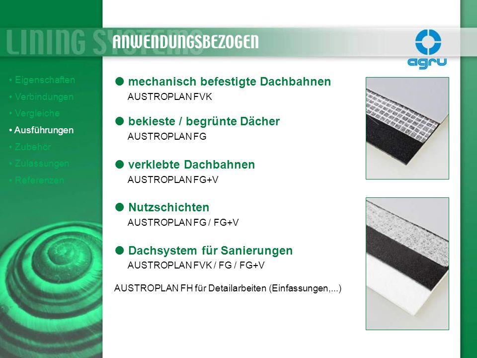Eigenschaften Verbindungen Vergleiche Ausführungen Zubehör Zulassungen Referenzen mechanisch befestigte Dachbahnen AUSTROPLAN FVK bekieste / begrünte
