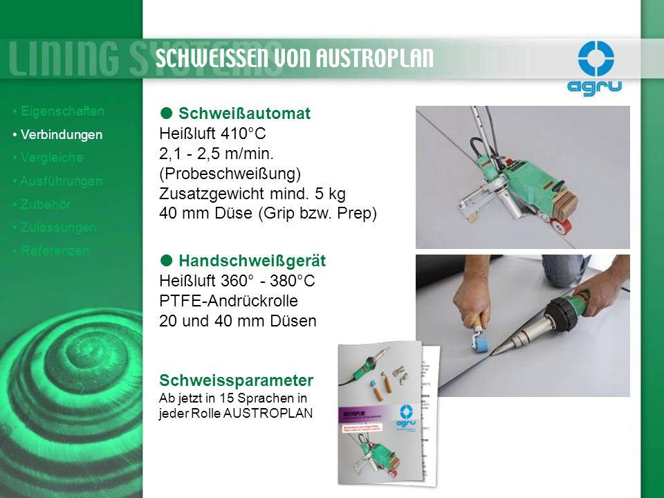 Eigenschaften Verbindungen Vergleiche Ausführungen Zubehör Zulassungen Referenzen Schweißautomat Heißluft 410°C 2,1 - 2,5 m/min. (Probeschweißung) Zus