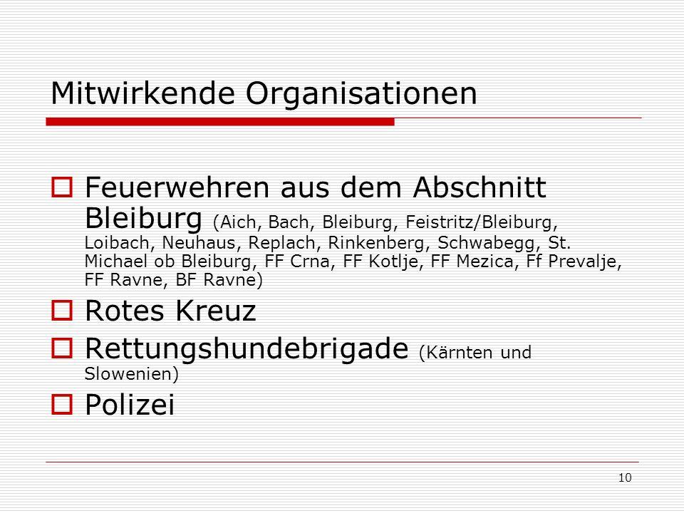 10 Mitwirkende Organisationen Feuerwehren aus dem Abschnitt Bleiburg (Aich, Bach, Bleiburg, Feistritz/Bleiburg, Loibach, Neuhaus, Replach, Rinkenberg, Schwabegg, St.