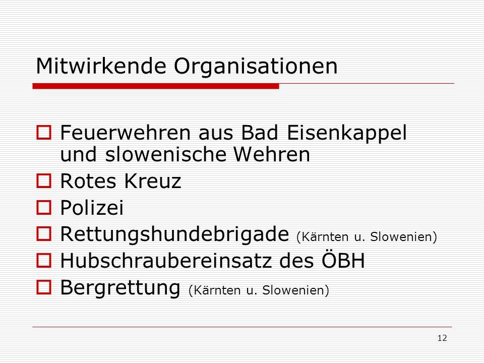 12 Mitwirkende Organisationen Feuerwehren aus Bad Eisenkappel und slowenische Wehren Rotes Kreuz Polizei Rettungshundebrigade (Kärnten u.