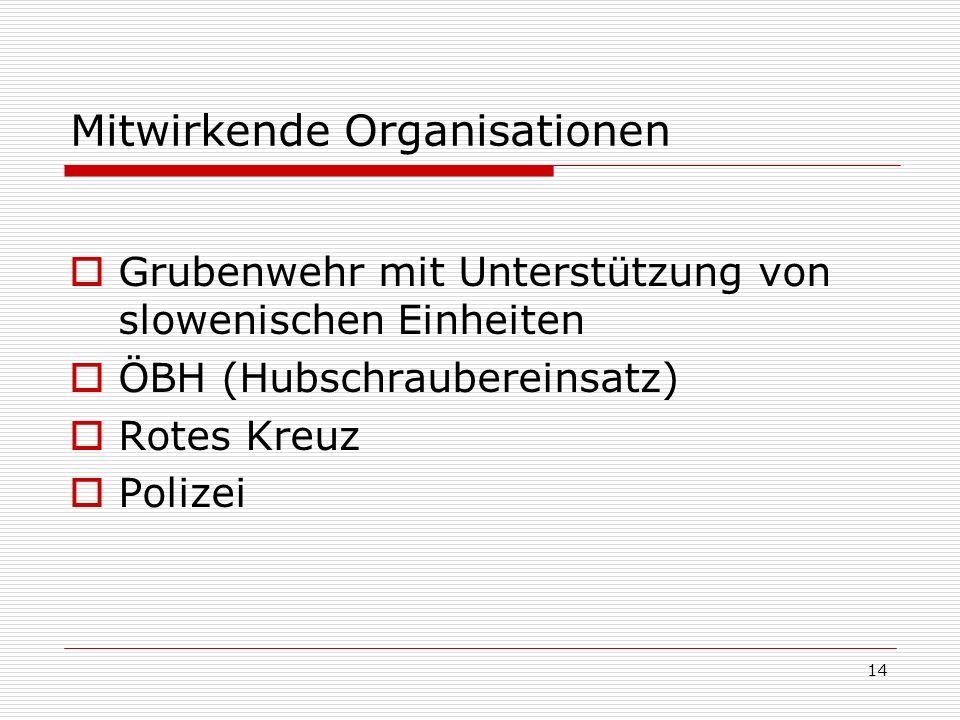 14 Mitwirkende Organisationen Grubenwehr mit Unterstützung von slowenischen Einheiten ÖBH (Hubschraubereinsatz) Rotes Kreuz Polizei