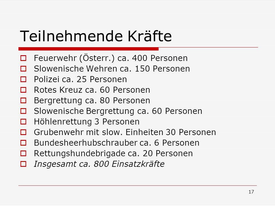 17 Teilnehmende Kräfte Feuerwehr (Österr.) ca. 400 Personen Slowenische Wehren ca.