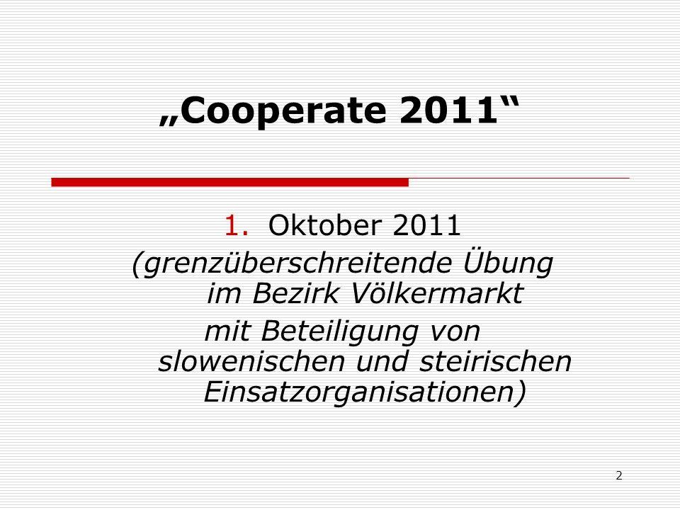 2 Cooperate 2011 1.Oktober 2011 (grenzüberschreitende Übung im Bezirk Völkermarkt mit Beteiligung von slowenischen und steirischen Einsatzorganisationen)