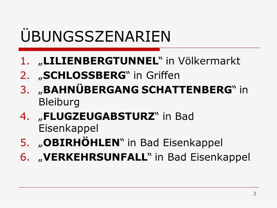 3 ÜBUNGSSZENARIEN 1.LILIENBERGTUNNEL in Völkermarkt 2.SCHLOSSBERG in Griffen 3.BAHNÜBERGANG SCHATTENBERG in Bleiburg 4.FLUGZEUGABSTURZ in Bad Eisenkappel 5.OBIRHÖHLEN in Bad Eisenkappel 6.VERKEHRSUNFALL in Bad Eisenkappel