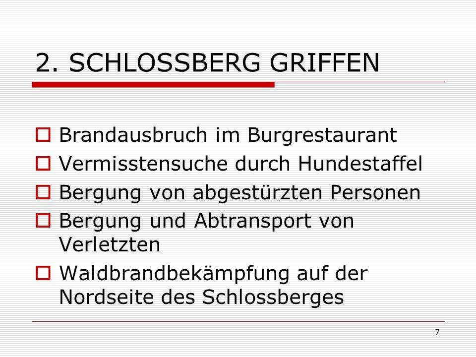 7 2. SCHLOSSBERG GRIFFEN Brandausbruch im Burgrestaurant Vermisstensuche durch Hundestaffel Bergung von abgestürzten Personen Bergung und Abtransport