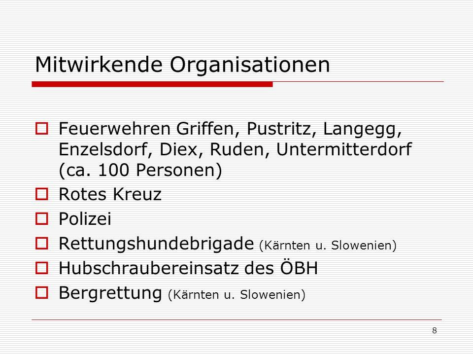8 Mitwirkende Organisationen Feuerwehren Griffen, Pustritz, Langegg, Enzelsdorf, Diex, Ruden, Untermitterdorf (ca.