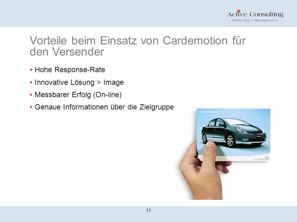 Vorteile beim Einsatz von Cardemotion für den Versender Hohe Response-Rate Innovative Lösung > Image Messbarer Erfolg (On-line) Genaue Informationen über die Zielgruppe 11