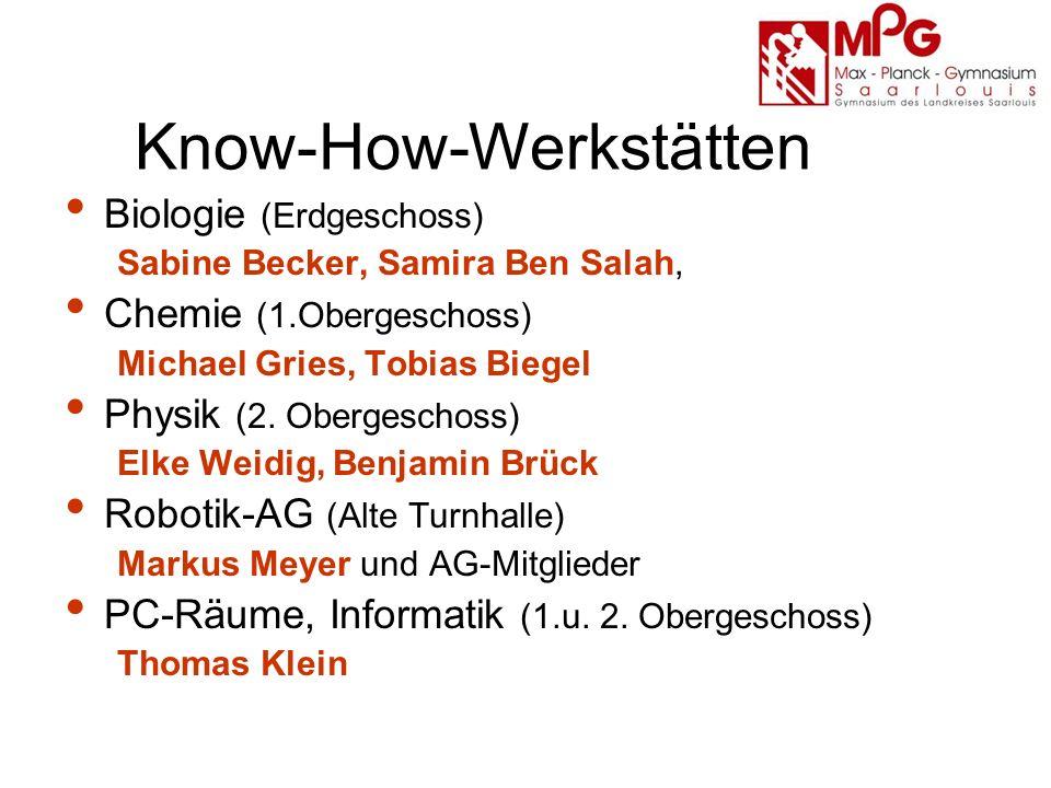 Know-How-Werkstätten Biologie (Erdgeschoss) Sabine Becker, Samira Ben Salah, Chemie (1.Obergeschoss) Michael Gries, Tobias Biegel Physik (2.