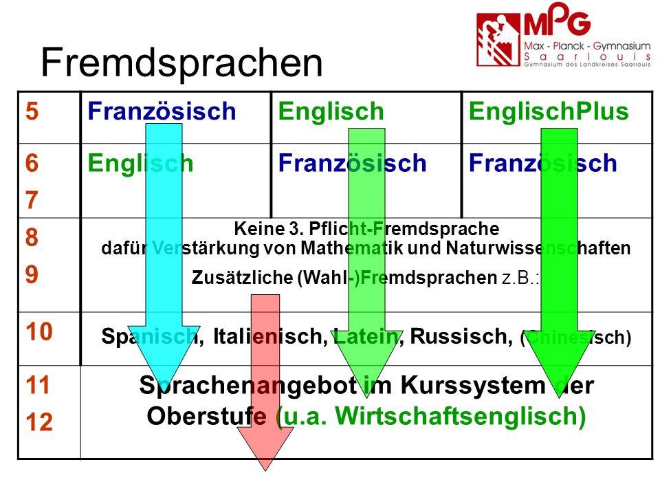 Fremdsprachen Unterstützung des Fremdsprachenunterrichts durch Wettbewerbe und externe Zertifikate Internationale Projekte (Comenius) Partnerschulen in Luxemburg, Frankreich (4), Italien, Rumänien, USA, China (Beijing) Schüleraustausch