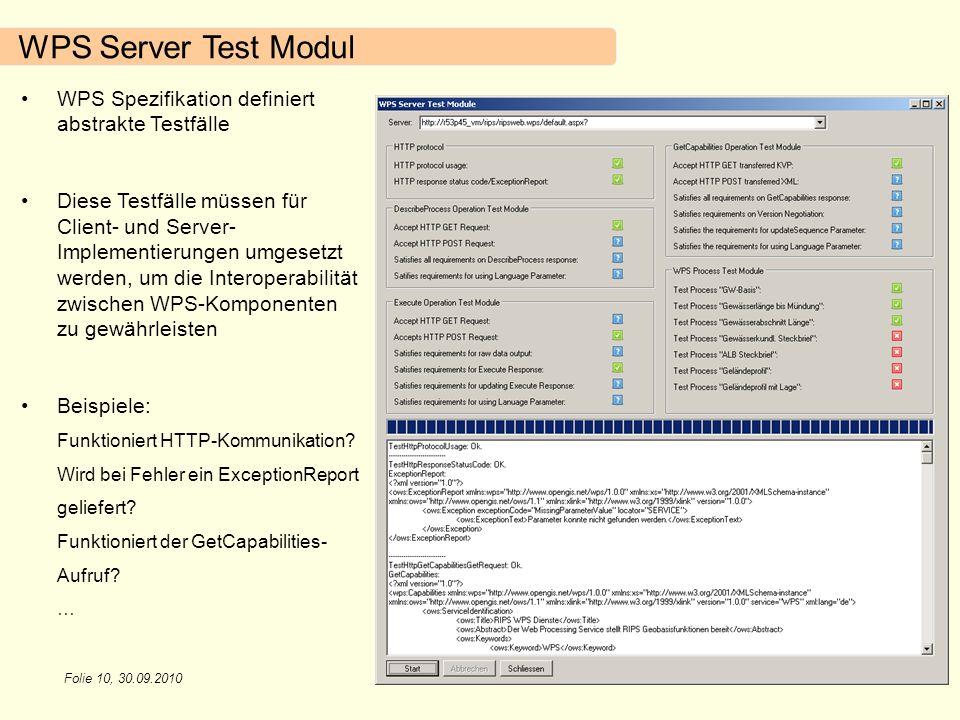 Folie 10, 30.09.2010 WPS Server Test Modul WPS Spezifikation definiert abstrakte Testfälle Diese Testfälle müssen für Client- und Server- Implementier