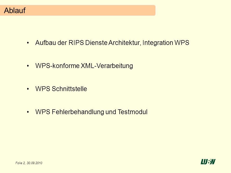 Folie 2, 30.09.2010 Ablauf Aufbau der RIPS Dienste Architektur, Integration WPS WPS-konforme XML-Verarbeitung WPS Schnittstelle WPS Fehlerbehandlung u