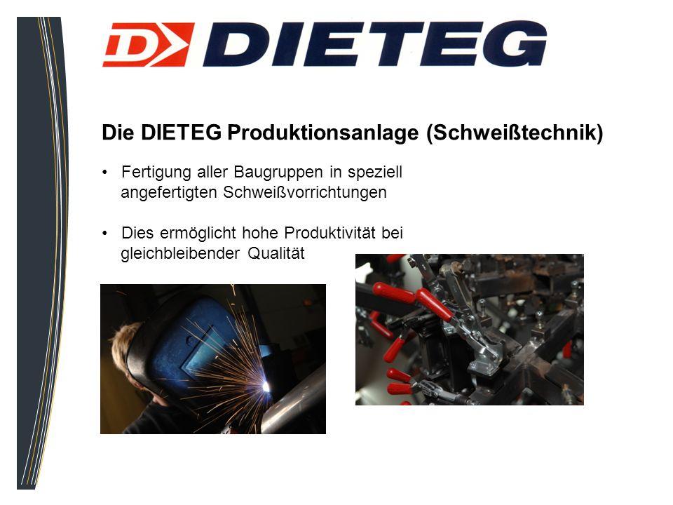 Die DIETEG Produktionsanlage (Schweißtechnik) Fertigung aller Baugruppen in speziell angefertigten Schweißvorrichtungen Dies ermöglicht hohe Produktiv