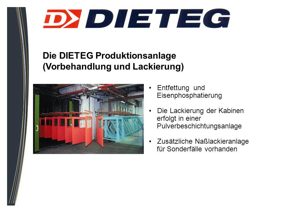 Die DIETEG Produktionsanlage (Vorbehandlung und Lackierung) Entfettung und Eisenphosphatierung Die Lackierung der Kabinen erfolgt in einer Pulverbesch