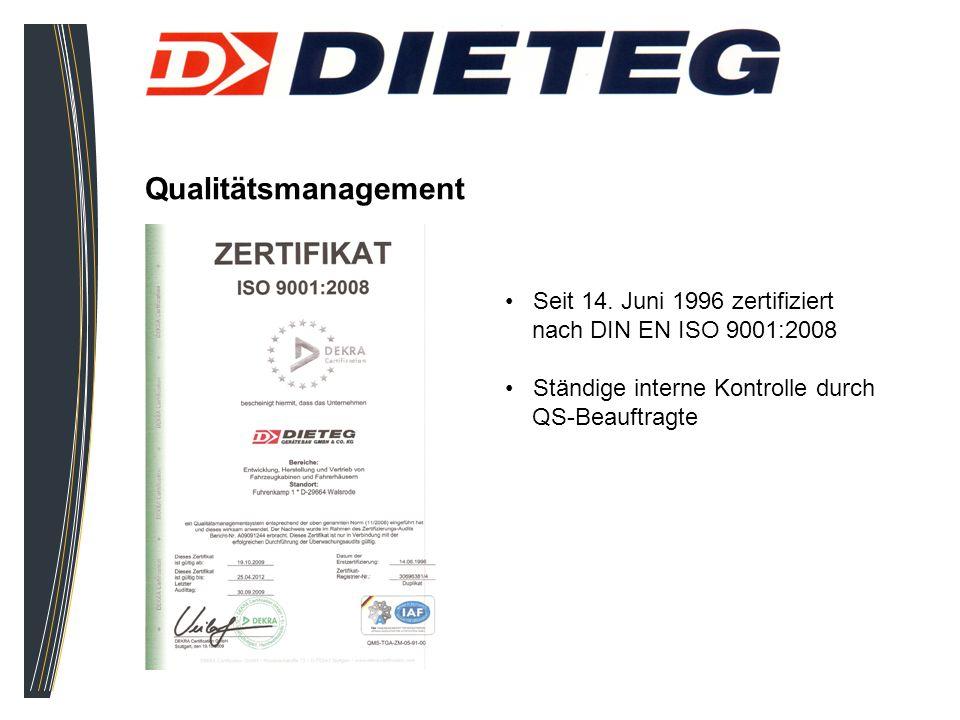 Qualitätsmanagement Seit 14. Juni 1996 zertifiziert nach DIN EN ISO 9001:2008 Ständige interne Kontrolle durch QS-Beauftragte