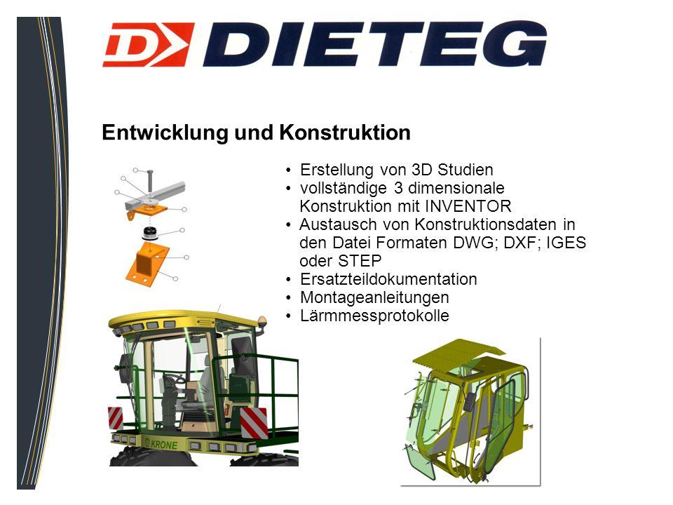 Entwicklung und Konstruktion Erstellung von 3D Studien vollständige 3 dimensionale Konstruktion mit INVENTOR Austausch von Konstruktionsdaten in den D