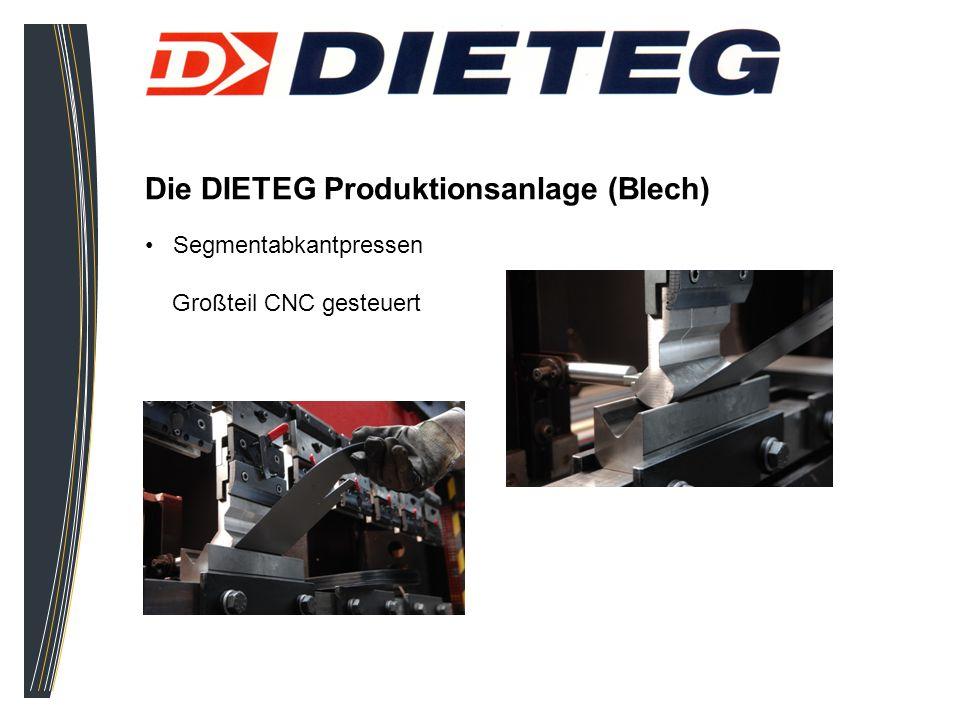 Die DIETEG Produktionsanlage (Blech) Segmentabkantpressen Großteil CNC gesteuert
