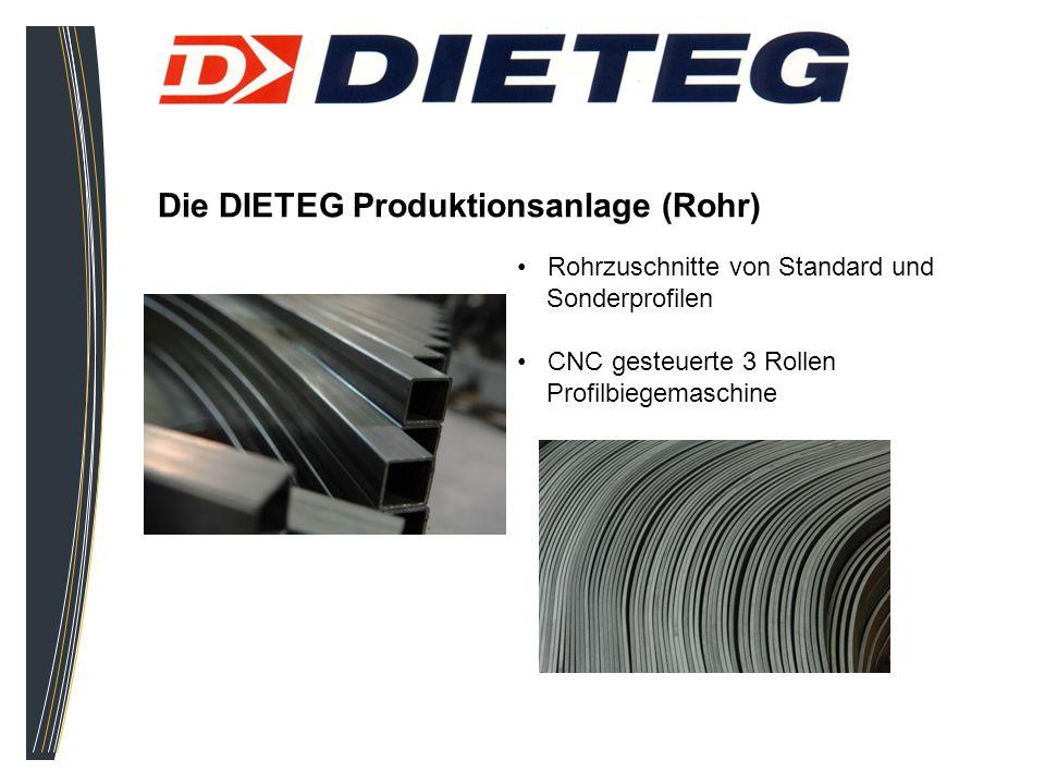 Die DIETEG Produktionsanlage (Rohr) Rohrzuschnitte von Standard und Sonderprofilen CNC gesteuerte 3 Rollen Profilbiegemaschine