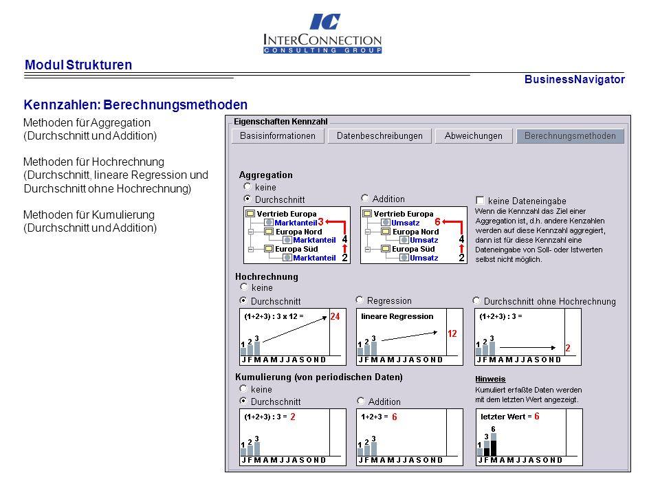 Modul Strukturen Kennzahlen: Berechnungsmethoden Methoden für Aggregation (Durchschnitt und Addition) Methoden für Hochrechnung (Durchschnitt, lineare Regression und Durchschnitt ohne Hochrechnung) Methoden für Kumulierung (Durchschnitt und Addition) BusinessNavigator