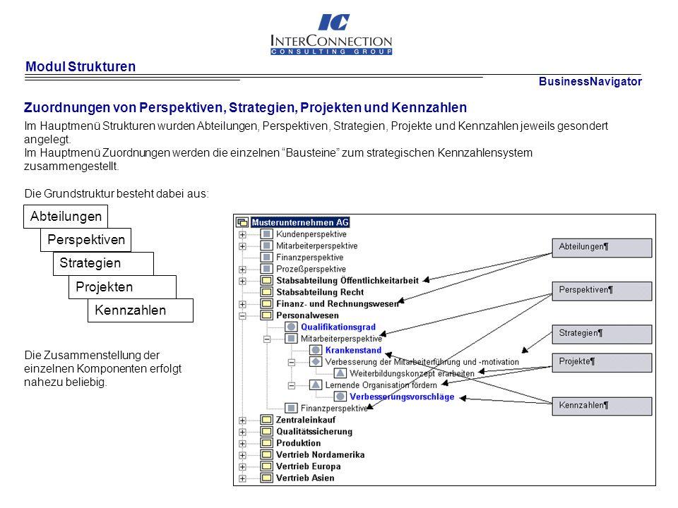 Modul Strukturen Zuordnungen von Perspektiven, Strategien, Projekten und Kennzahlen BusinessNavigator Im Hauptmenü Strukturen wurden Abteilungen, Perspektiven, Strategien, Projekte und Kennzahlen jeweils gesondert angelegt.