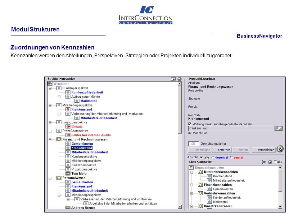 Modul Strukturen Zuordnungen von Kennzahlen BusinessNavigator Kennzahlen werden den Abteilungen, Perspektiven, Strategien oder Projekten individuell zugeordnet.