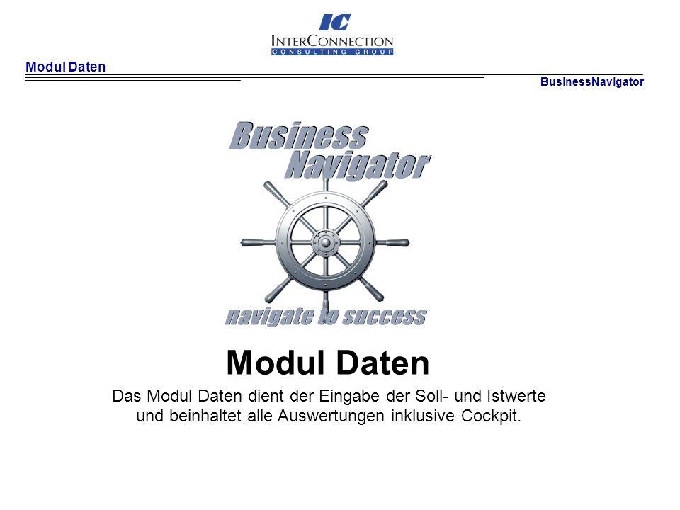 Modul Daten BusinessNavigator Modul Daten Das Modul Daten dient der Eingabe der Soll- und Istwerte und beinhaltet alle Auswertungen inklusive Cockpit.