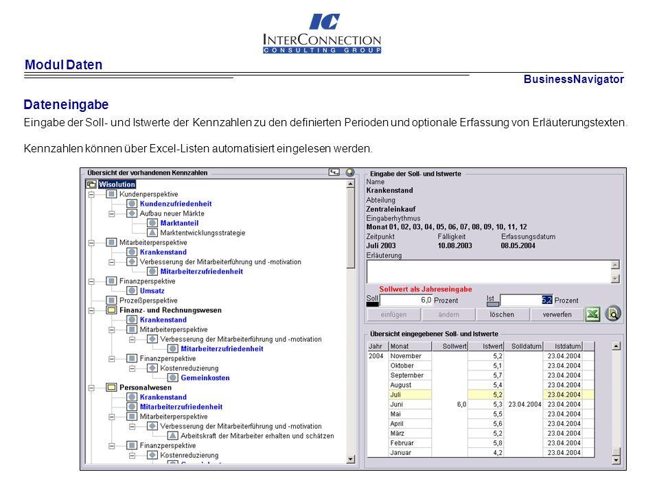 Modul Daten Dateneingabe Eingabe der Soll- und Istwerte der Kennzahlen zu den definierten Perioden und optionale Erfassung von Erläuterungstexten.
