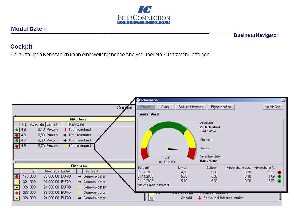 Modul Daten Cockpit Bei auffälligen Kennzahlen kann eine weitergehende Analyse über ein Zusatzmenü erfolgen.