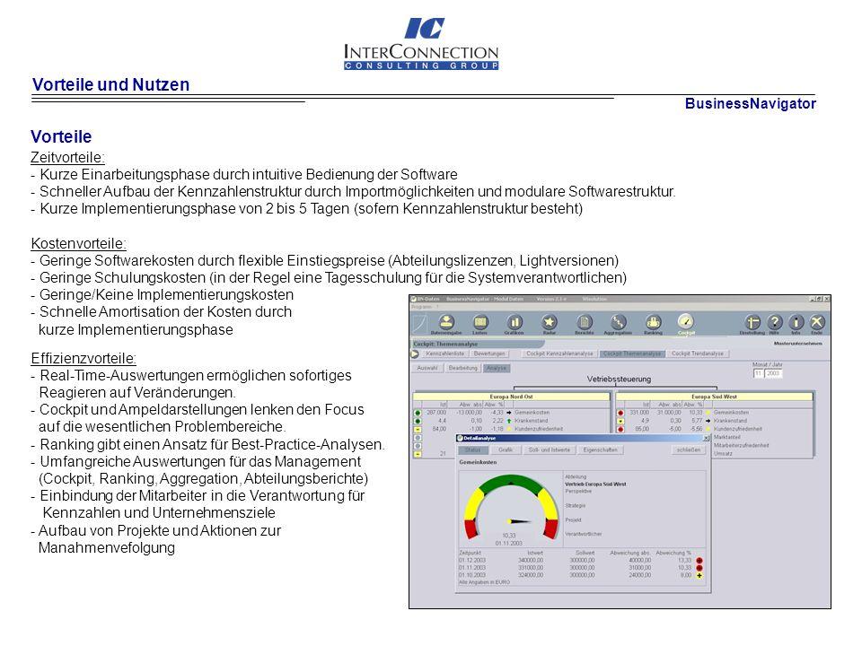 Vorteile und Nutzen Zeitvorteile: - Kurze Einarbeitungsphase durch intuitive Bedienung der Software - Schneller Aufbau der Kennzahlenstruktur durch Importmöglichkeiten und modulare Softwarestruktur.