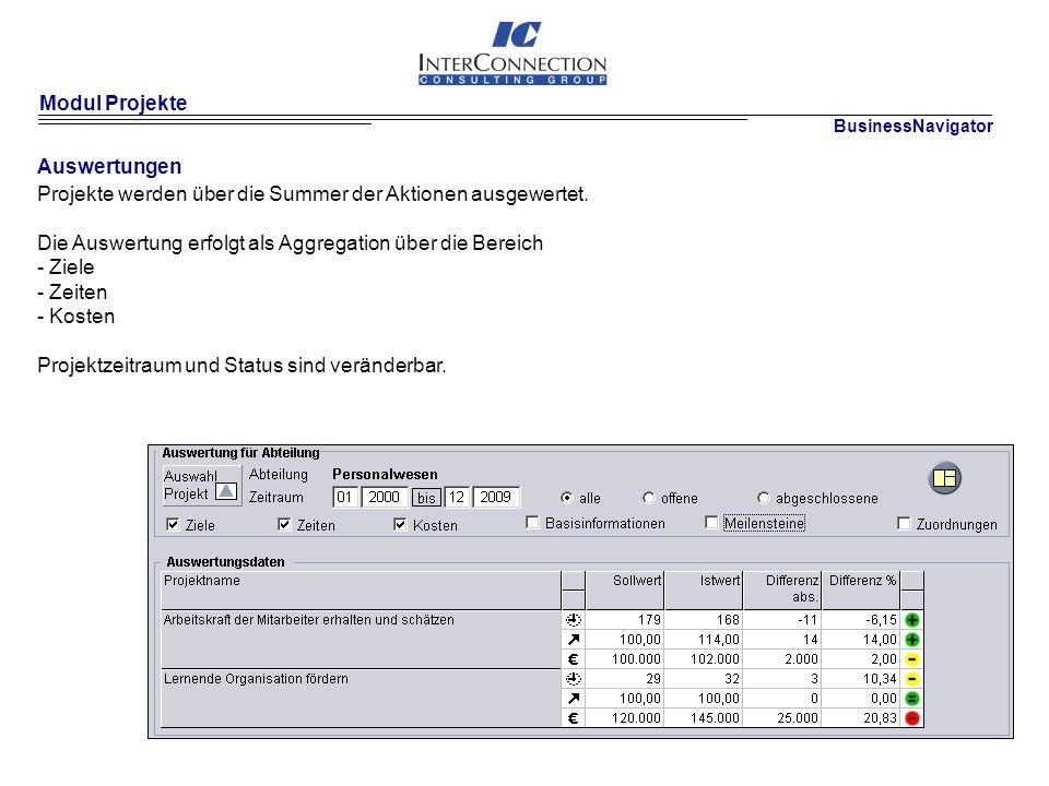 Modul Projekte Auswertungen Projekte werden über die Summer der Aktionen ausgewertet.
