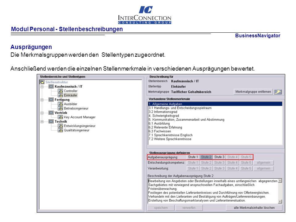 Modul Personal - Stellenbeschreibungen Ausprägungen Die Merkmalsgruppen werden den Stellentypen zugeordnet.
