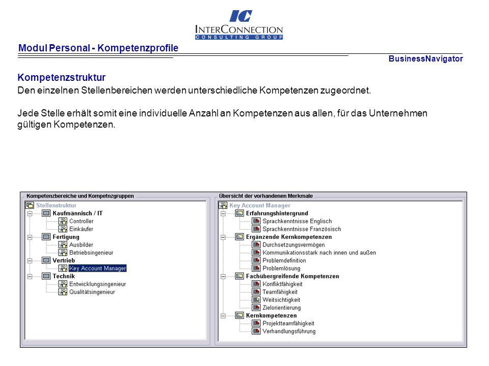 Modul Personal - Kompetenzprofile Kompetenzstruktur Den einzelnen Stellenbereichen werden unterschiedliche Kompetenzen zugeordnet.
