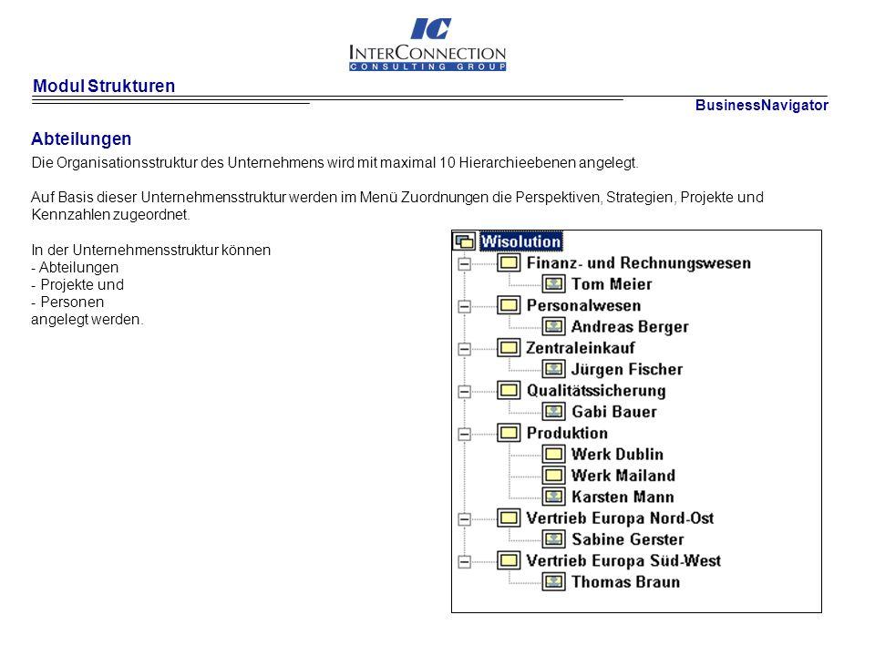 Modul Strukturen Abteilungen Die Organisationsstruktur des Unternehmens wird mit maximal 10 Hierarchieebenen angelegt.