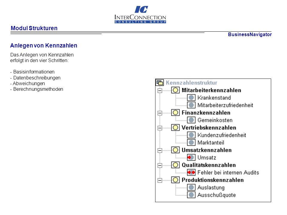 Modul Strukturen Anlegen von Kennzahlen BusinessNavigator Das Anlegen von Kennzahlen erfolgt in den vier Schritten: - Basisinformationen - Datenbeschreibungen - Abweichungen - Berechnungsmethoden