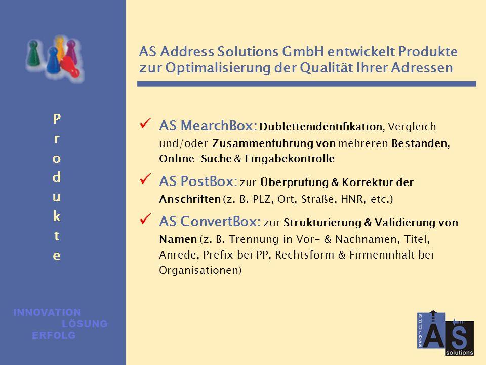 Die 4 Säulen der modernen Adress- bereinigung Qualität Performance Easy-to-use Qualität ist die Basis. Qualiät kann nur mit Hilfe von wissens- & regel