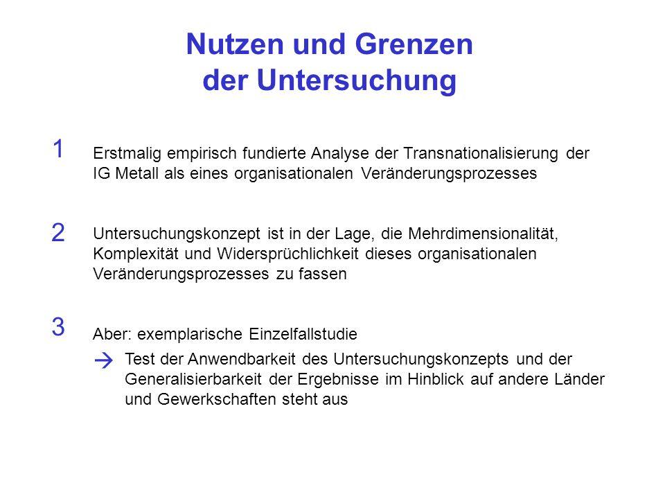 Nutzen und Grenzen der Untersuchung 1 Erstmalig empirisch fundierte Analyse der Transnationalisierung der IG Metall als eines organisationalen Verände