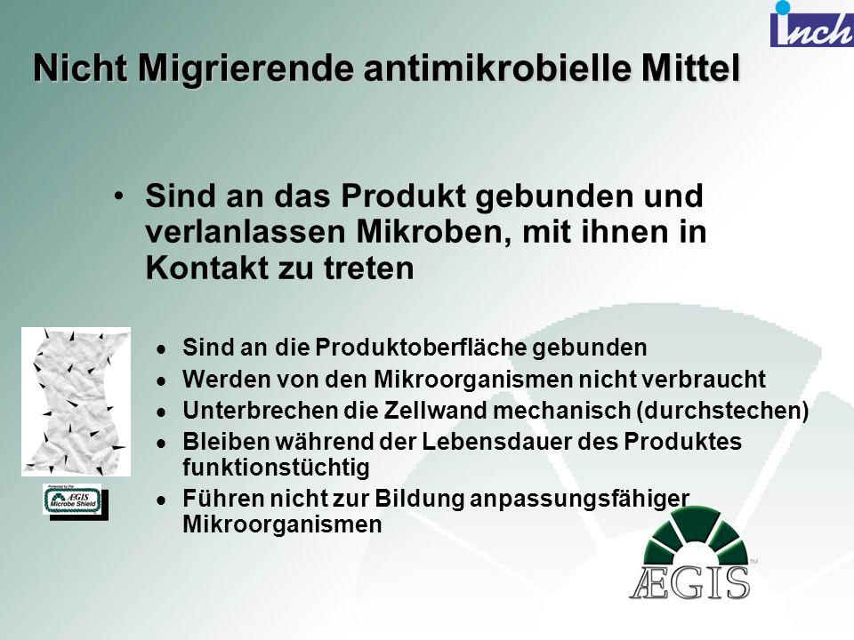 Nicht Migrierende antimikrobielle Mittel Sind an das Produkt gebunden und verlanlassen Mikroben, mit ihnen in Kontakt zu treten Sind an die Produktobe