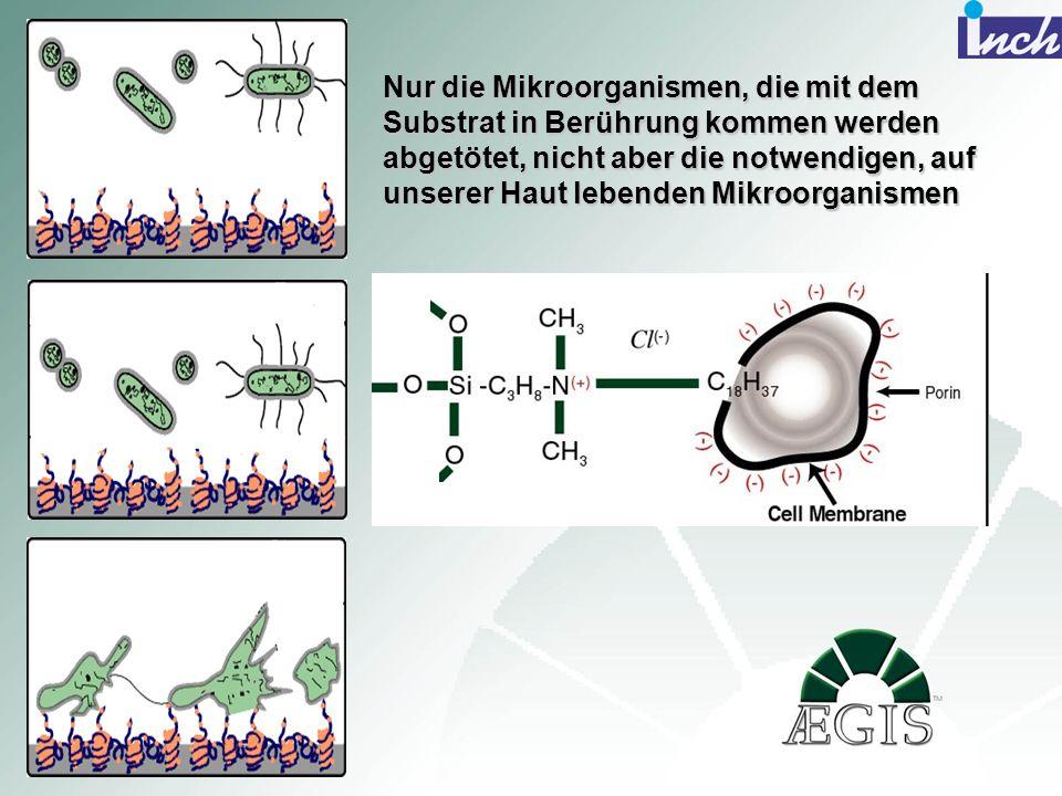 Nur die Mikroorganismen, die mit dem Substrat in Berührung kommen werden abgetötet, nicht aber die notwendigen, auf unserer Haut lebenden Mikroorganis