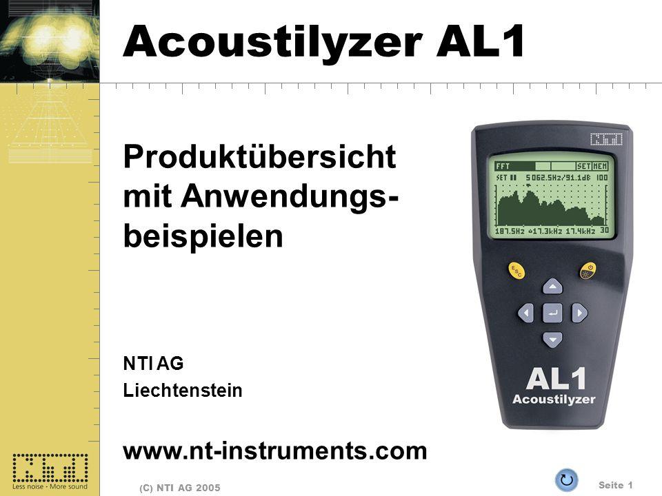 Seite 1 (C) NTI AG 2005 Acoustilyzer AL1 Produktübersicht mit Anwendungs- beispielen NTI AG Liechtenstein www.nt-instruments.com