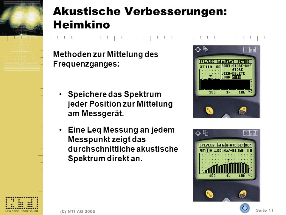 Seite 11 (C) NTI AG 2005 Akustische Verbesserungen: Heimkino Methoden zur Mittelung des Frequenzganges: Speichere das Spektrum jeder Position zur Mittelung am Messgerät.