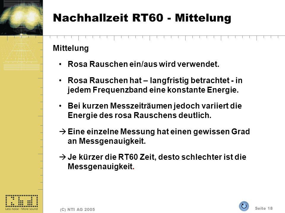 Seite 18 (C) NTI AG 2005 Nachhallzeit RT60 - Mittelung Mittelung Rosa Rauschen ein/aus wird verwendet. Rosa Rauschen hat – langfristig betrachtet - in