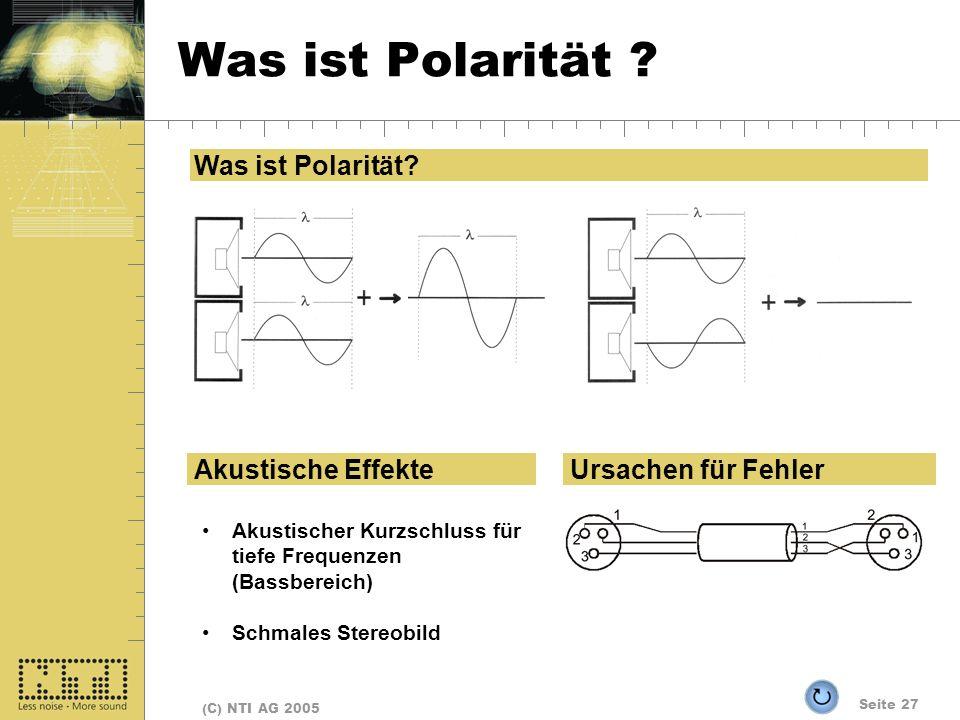 Seite 27 (C) NTI AG 2005 Was ist Polarität ? Akustische Effekte Akustischer Kurzschluss für tiefe Frequenzen (Bassbereich) Schmales Stereobild Ursache