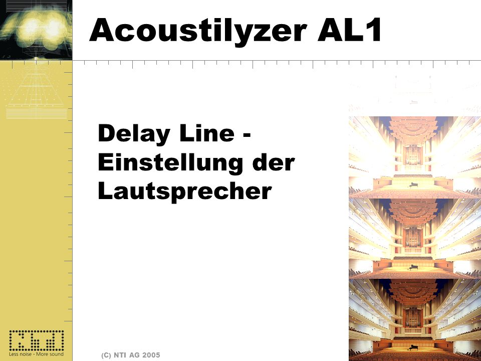 Seite 29 (C) NTI AG 2005 Delay Line - Einstellung der Lautsprecher Delay Lines Acoustilyzer AL1