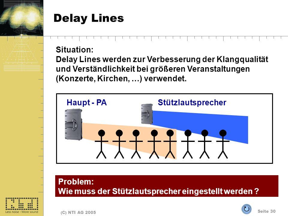 Seite 30 (C) NTI AG 2005 Delay Lines Haupt - PAStützlautsprecher Situation: Delay Lines werden zur Verbesserung der Klangqualität und Verständlichkeit bei größeren Veranstaltungen (Konzerte, Kirchen, …) verwendet.