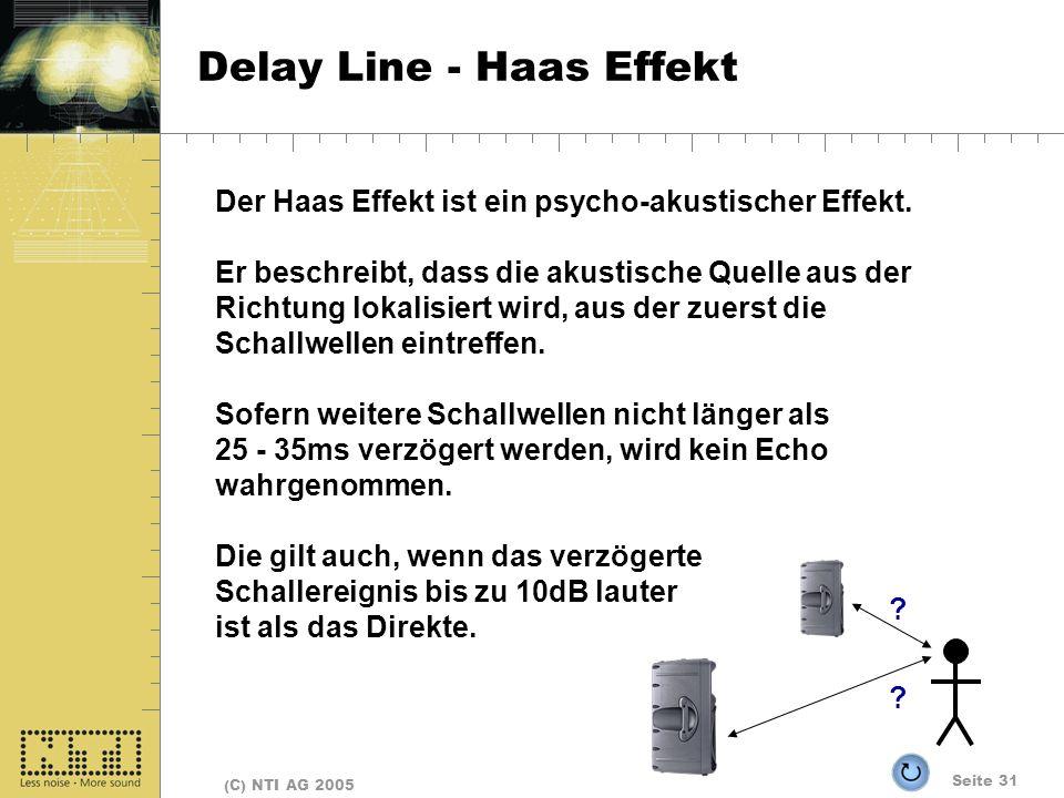 Seite 31 (C) NTI AG 2005 Delay Line - Haas Effekt Der Haas Effekt ist ein psycho-akustischer Effekt. Er beschreibt, dass die akustische Quelle aus der