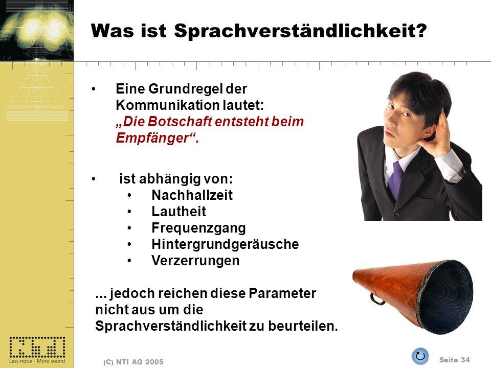 Seite 34 (C) NTI AG 2005 Was ist Sprachverständlichkeit? Eine Grundregel der Kommunikation lautet: Die Botschaft entsteht beim Empfänger. ist abhängig