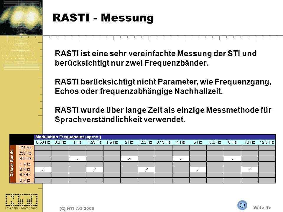 Seite 43 (C) NTI AG 2005 RASTI - Messung RASTI ist eine sehr vereinfachte Messung der STI und berücksichtigt nur zwei Frequenzbänder. RASTI berücksich