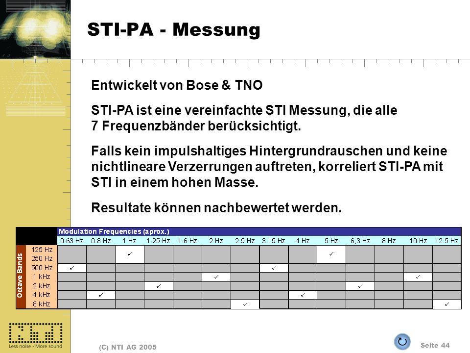 Seite 44 (C) NTI AG 2005 STI-PA - Messung Entwickelt von Bose & TNO STI-PA ist eine vereinfachte STI Messung, die alle 7 Frequenzbänder berücksichtigt.